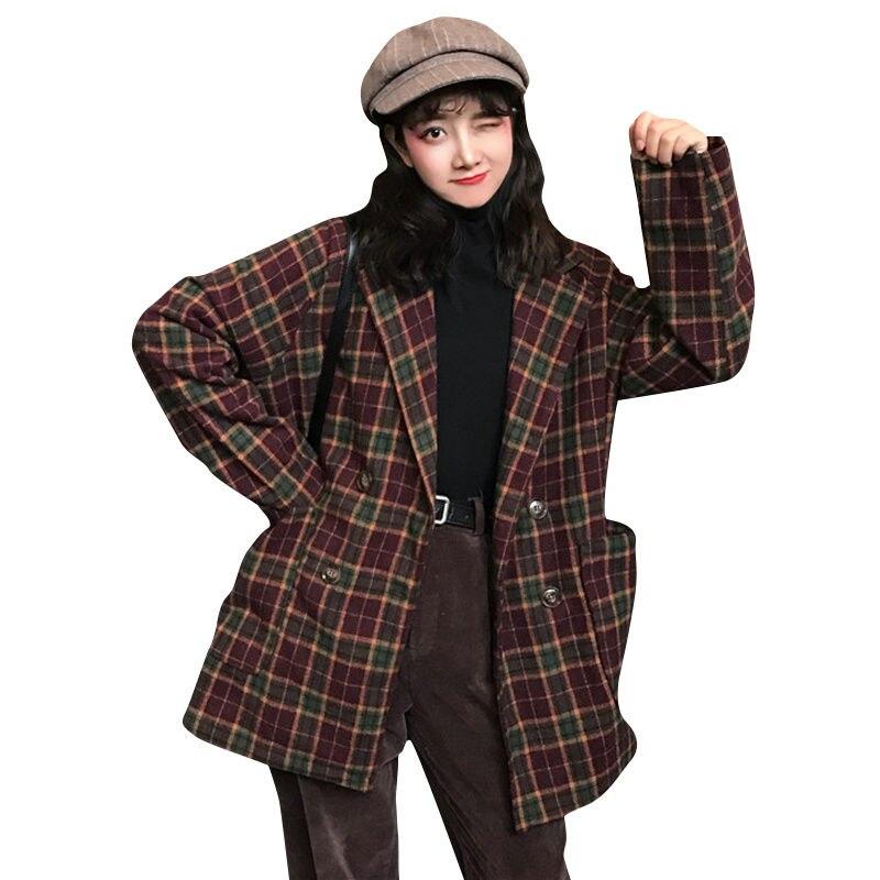 Abrigo de lana de celosía para Mujer, chaquetas de otoño e Invierno,...