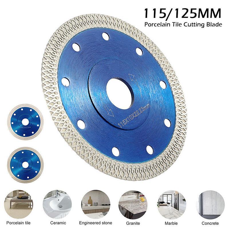 1 hoja de sierra de diamante ondulado de 115/125mm para azulejos de porcelana, disco de corte en seco de cerámica, hoja de sierra de piedra de granito de mármol