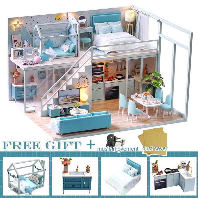 Casa de muñecas en miniatura de madera para niños, muebles de Casa...