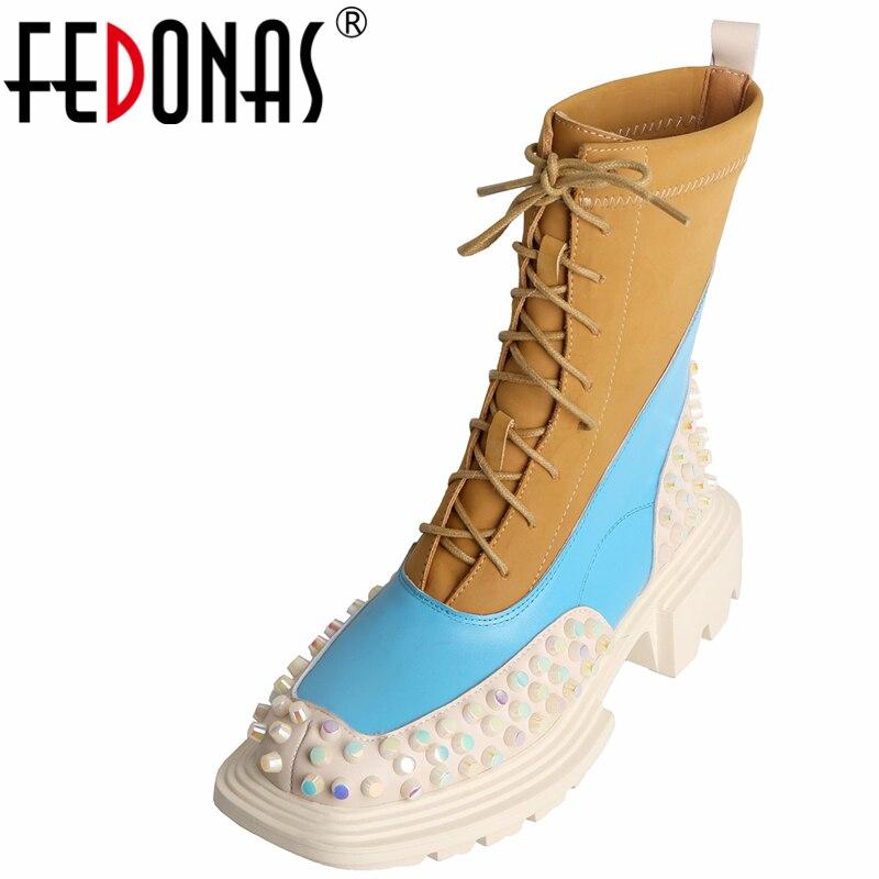 FEDONAS في الهواء الطلق موضة جديدة النساء حذاء من الجلد المسامير ساحة تو جلد طبيعي الدانتيل متابعة كعب سميك أحذية امرأة دراجة نارية الأحذية