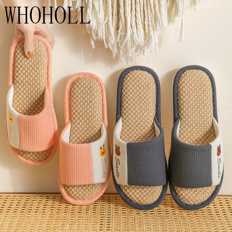 new arrival women summer sandals slippers leisure soft flip flops striped round toe casual shoes high quality beach slippers s Summer Women Flax Indoor Slippers Casual Flats Shoes Breathable Linen Beach Sandals Flip Flops Striped Female Home Bath Slippers