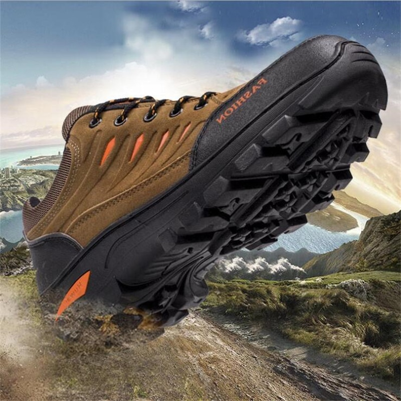 2020 New Men Leather Outdoor Hiking Sneakers Male Shoes Adult Non-Slip Casual Military Army Shoes Autumn Hard-wearing Footwear