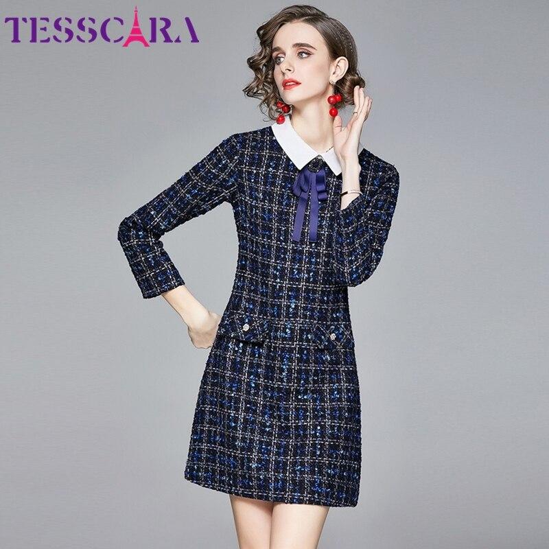Tesscara feminino outono & inverno elegante mistura de lã vestido festa alta qualidade do vintage coquetel robe femme designer vestidos