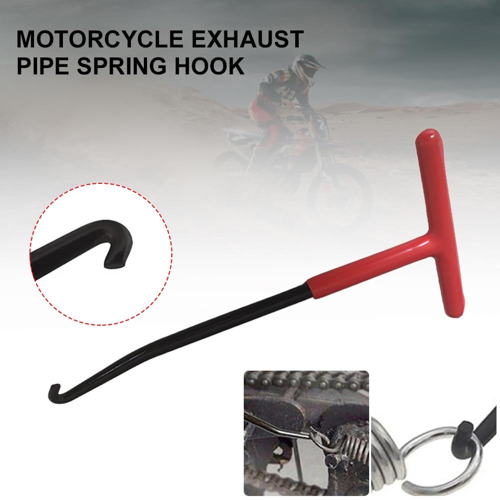 Motorbike Exhaust Pipe Springs Hook T-Handle Exhaust Pipe Spring Hand-held Puller Repair Tool  Motor Accessories Universal rc twin exhaust pipe red for losi 5ive t
