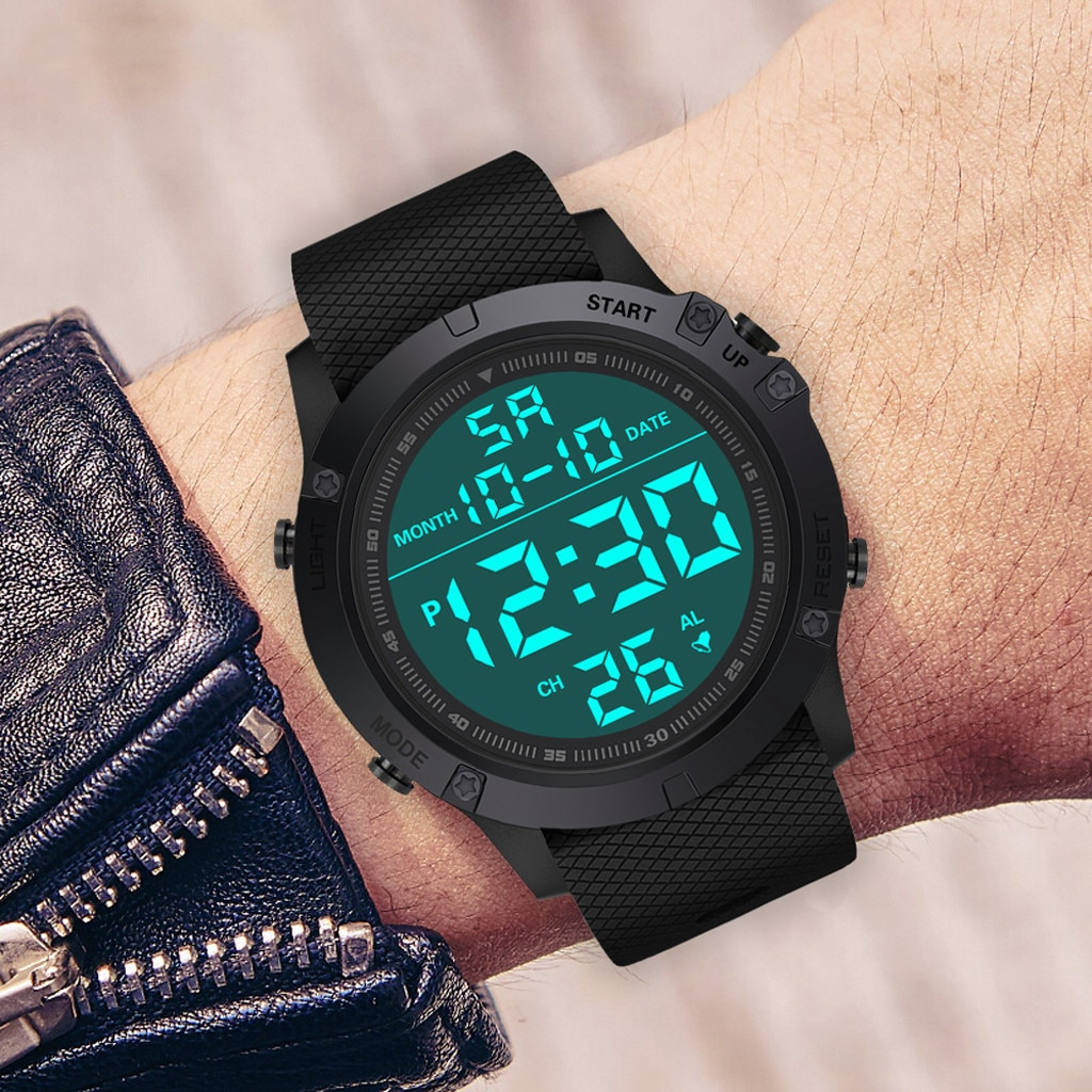 Men's Led Waterproof Digital Quartz Military Fashion Luxury Sport Date Watches Multi-function Час