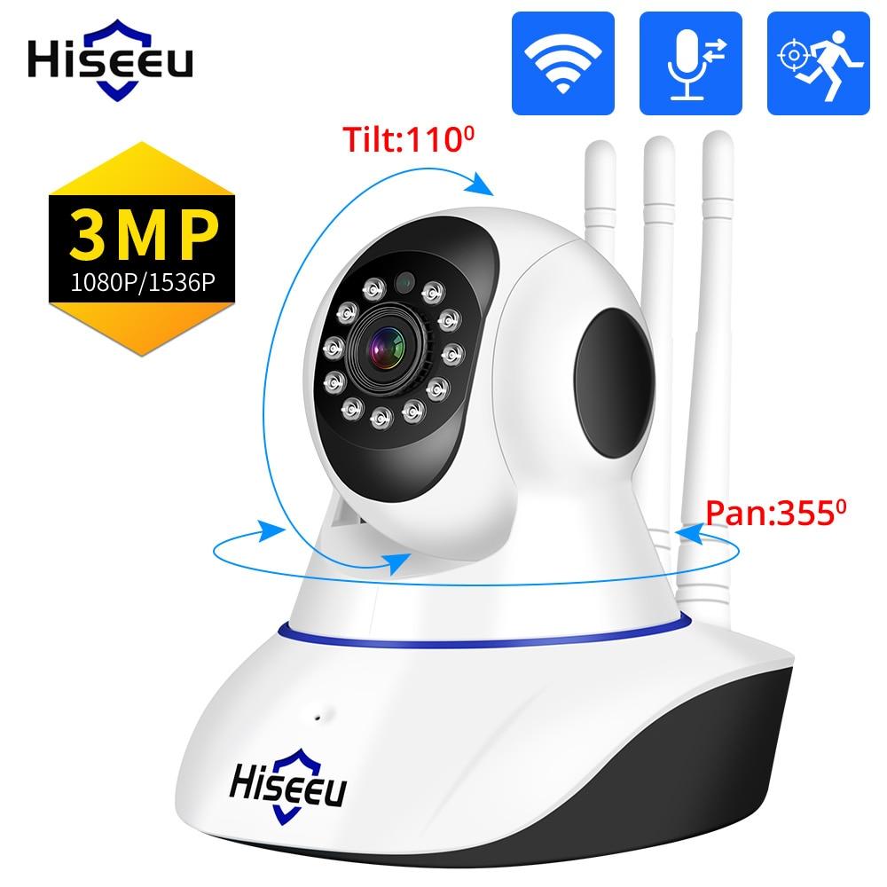 Hiseeu 1080P 3MP IP كاميرا واي فاي اللاسلكية الذكية كاميرا مراقبة للمنزل 2-Way الصوت CCTV Pet كاميرا مراقبة الطفل ICsee