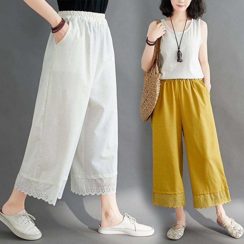 Artistic Retro Elastic Waist Lace Cotton and Linen Wide-Leg Pants Summer Loose Large Size Solid Colo