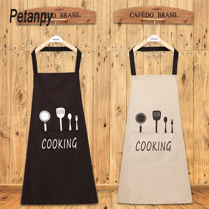 Lady Water Oil Proof Apron Home Kitchen Chef Aprons Restaurant Cooking Baking Dress Fashion Apron With Pockets new cotton aprons фартук canvas pockets baking chefs kitchen cooking apron фартук кухонный chefs with hat household merchandises