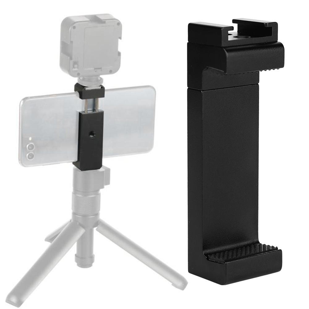 """Teléfono Universal Fijación de montura de trípode soporte Clip con el frío de montaje 1/4 """"tornillo para micrófono luz LED para vídeo en vivo de Vlogging"""