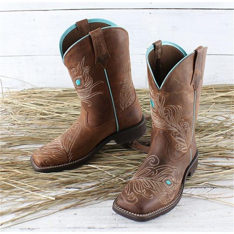 2021 جديد أحذية النساء الموضة شخصية عادية ريترو براون بولي Embroidered مطرزة بشكل رائع ساحة تو أحذية بوت قصيرة 3KC443