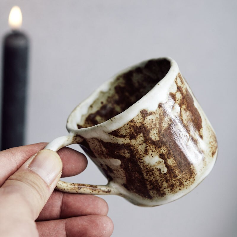 Taza de Café de Cerámica Retro de arte japonés de 150ml con platillo té de la tarde nórdica Mini 100ml taza de Espresso taza de gres Simple pareja