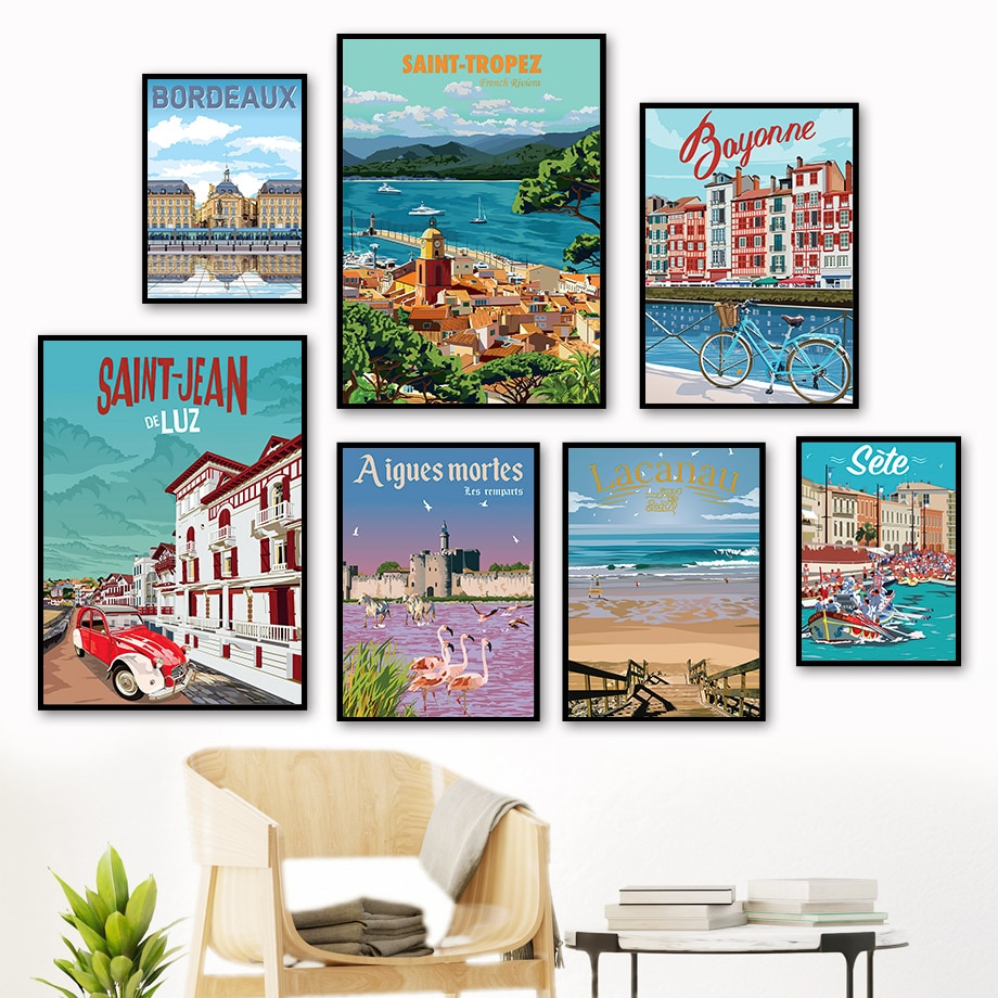 AliExpress - Famous City Travel French Italy Vintage Wall Art Canvas Painting Nordic Posters And Prints Wall Pictures For Living Room Decor