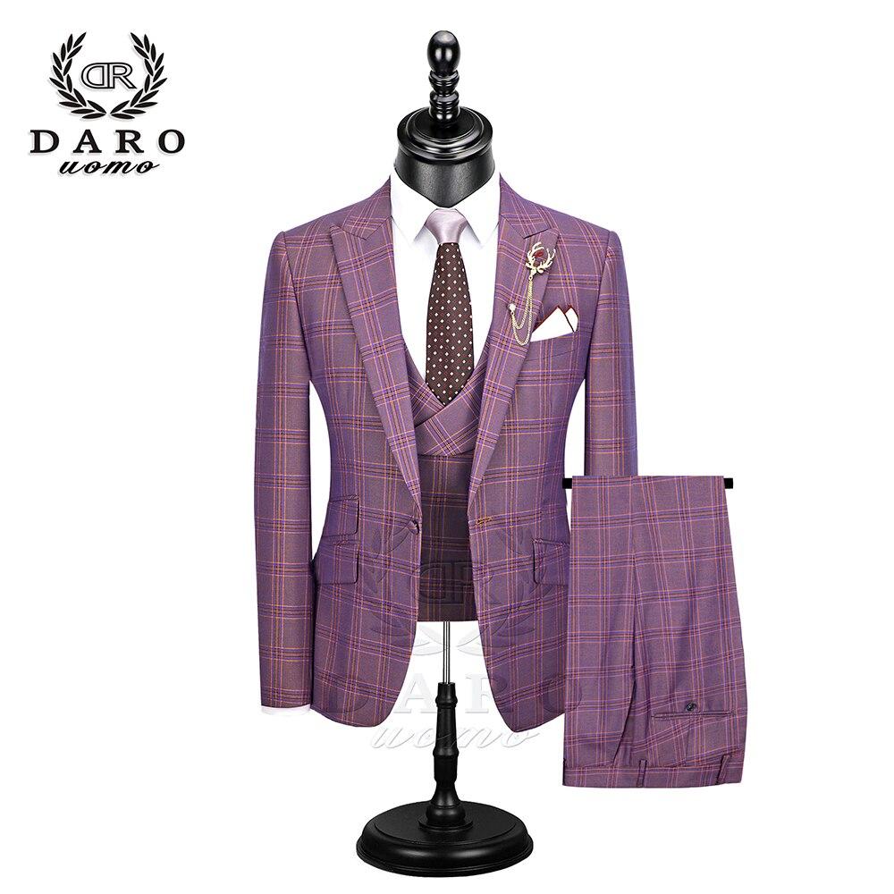 DARO, новинка 2020, мужской костюм, 3 предмета, модный клетчатый костюм, приталенный, синий, фиолетовый, свадебный костюм, блейзер, брюки и жилет, DR8193