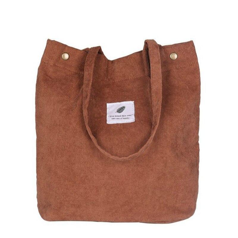 Nuevo bolso de compras de pana para mujer, bolso de lona para mujer, bolso de hombro con hebilla magnética, Bolso de terciopelo masajeador
