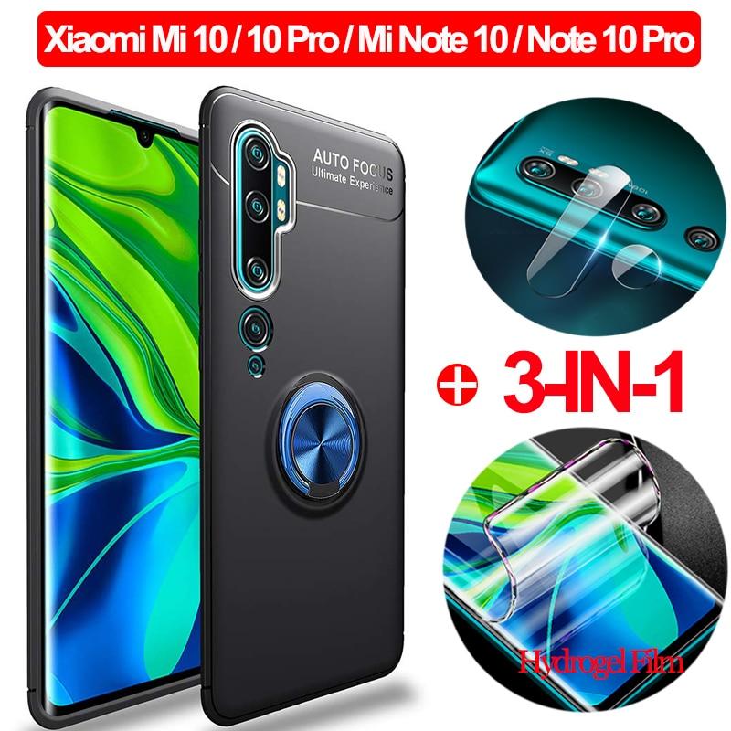 3-in-1 Hydrogel Film + Magnetic Silicone Case Xiaomi Mi-10 Note 10 PhoneCase Full Cover Xaomi Mi Note10 Mi 10Pro mi10 Soft Glass