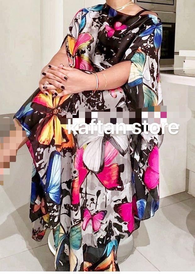 Top moda mariposa impresión Bohemia seda sexy lady house vestido de fiesta Malasia popular musulmana mujeres outlet kaftan vestido