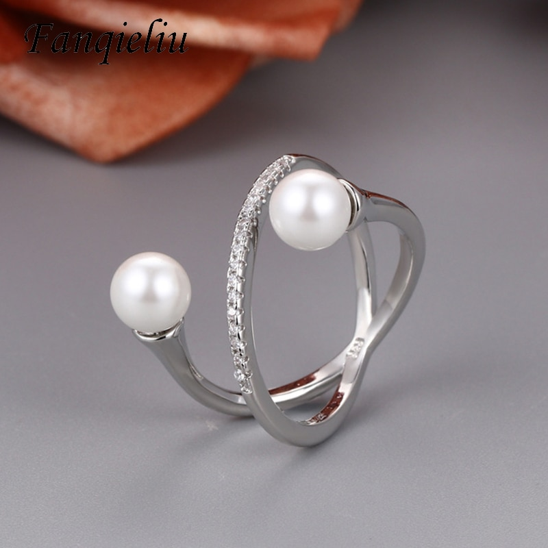 Fanqieliu Irregular Open Design Crystal Natural Pearl Jewelry Ring 925 Sterling Silver Wedding Bands For Women FQL21180