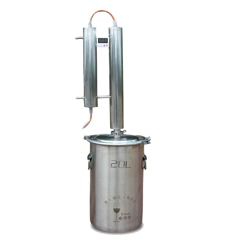 1 قطعة المقطر الذاتي يخمر النبيذ الخمور الفاكهة المسكرات آلة 20L الفولاذ المقاوم للصدأ تختمر المنزلية المقطر المقطر آلة