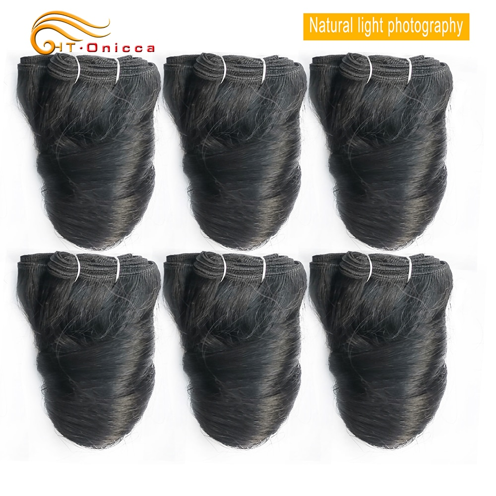 Paquetes de pelo rizado indio crudo para mujeres negras 6 unids/lote productos de pelo doble dibujado 8 pulgadas extensiones de cabello Remy Htonicca
