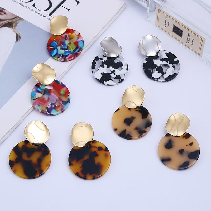 2020 Trendy ZA Fashion Round Tortoiseshell Acetate Clip On Earrings No Hole for Women Acrylic Resin