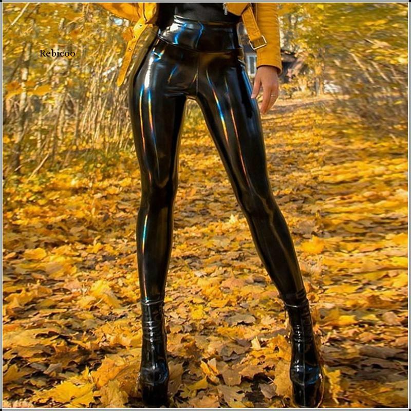 Women Pu Leather Leggings Black Pencil Pants High Waist Sexy Skinny Thin Trousers