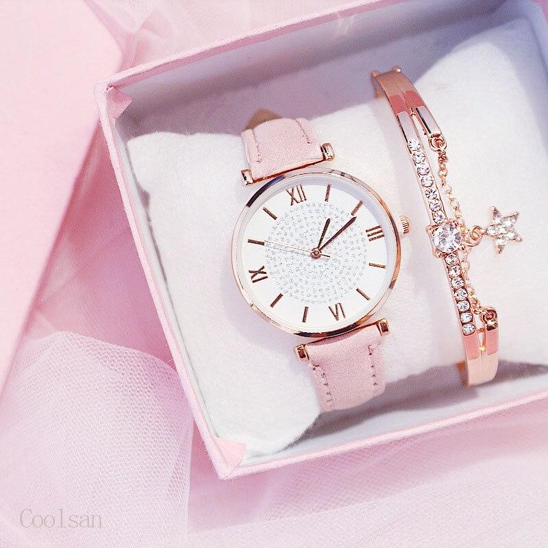 Reloj de pulsera de lujo para mujer, reloj de pulsera de cuarzo de cuero informal para mujer con cielo estrellado, reloj femenino