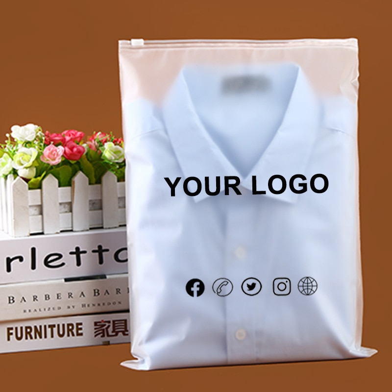 50PCS custom frosted zipper bags,high quality clothes plastic bag, Clothing Packaging Bags with logo printed, Ziplock Bags