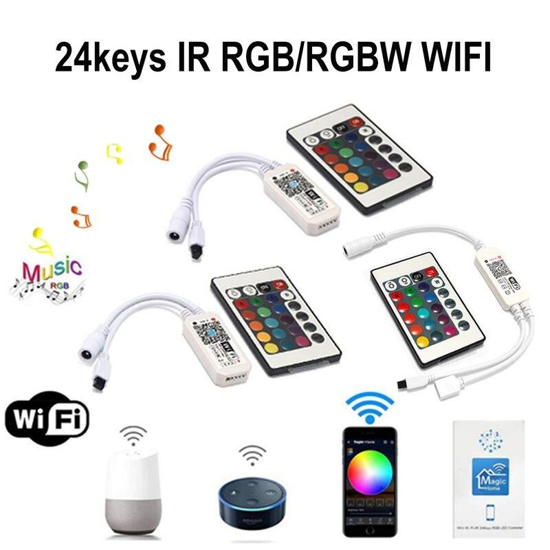 24 klawiszy RGB kontroler Wifi 24V 28V RGB dioda LED RGBW pilot do muzyki bezprzewodowy sterownik WiFi do LED dla RGB dioda LED RGBW taśmy android/iOS