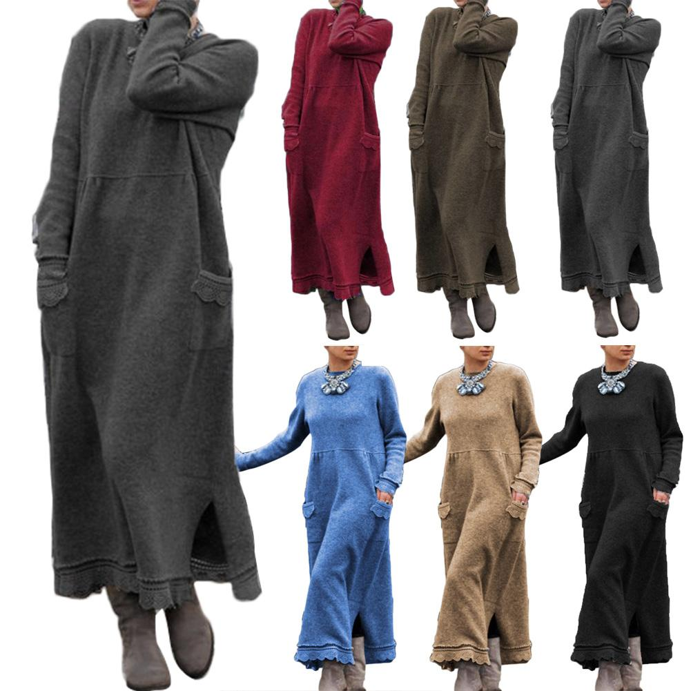 Vintage Women Autumn Winter Long Sleeve Lacework Hem Plus Size Knit Maxi Dress plus size floral handkerchief hem cami dress