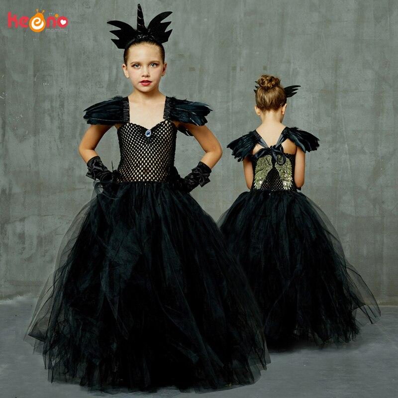 Ángel de la oscuridad negro elegante niñas Tutu elegante vestido de la muchacha de princesa fiesta de cumpleaños, halloween traje de alas niños vestido de fiesta vestido