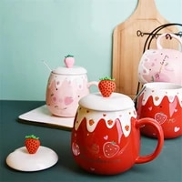 japanese style ceramic cute strawberry coffee mug with lids and spoon creative porcelain breakfast milk oatmeal cup drinkware