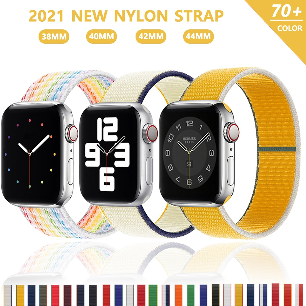 strap for apple watch 42mm 38mm sport loop iwatch band 5 44mm 40mm correa pulseira apple watch 5 3 4 band nylon watchband 3 2 1 Nylon Loop Strap for apple watch band 44mm 40mm 38mm 42mm 44 mm iWatch bracelet correa Watchband for apple watch 6 5 4 3 se band