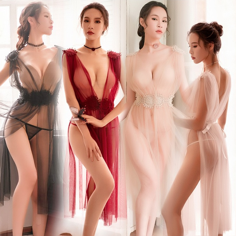 Ladies Underwear Temptation Sexy Underwear Side Slit Lace Suspender Nightdress Female Transparent Se