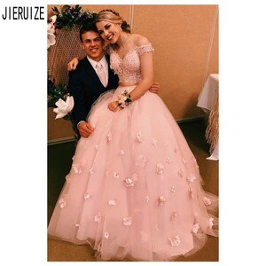 JIERUIZE Elegant Pink Two Pieces Wedding Dresses Off the Shoulder Handmade Flowers Lace Up Back Wedding Gowns robe de mariee