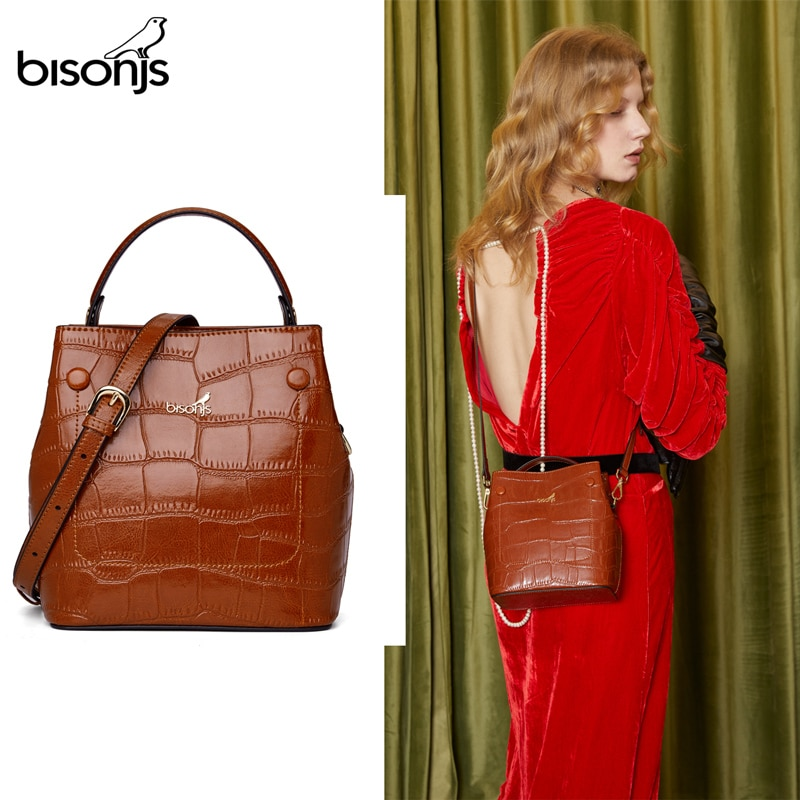 BISONJS женская сумка-ведро, роскошная кожаная маленькая сумка с верхней ручкой, модная женская сумка через плечо, сумка через плечо B1838