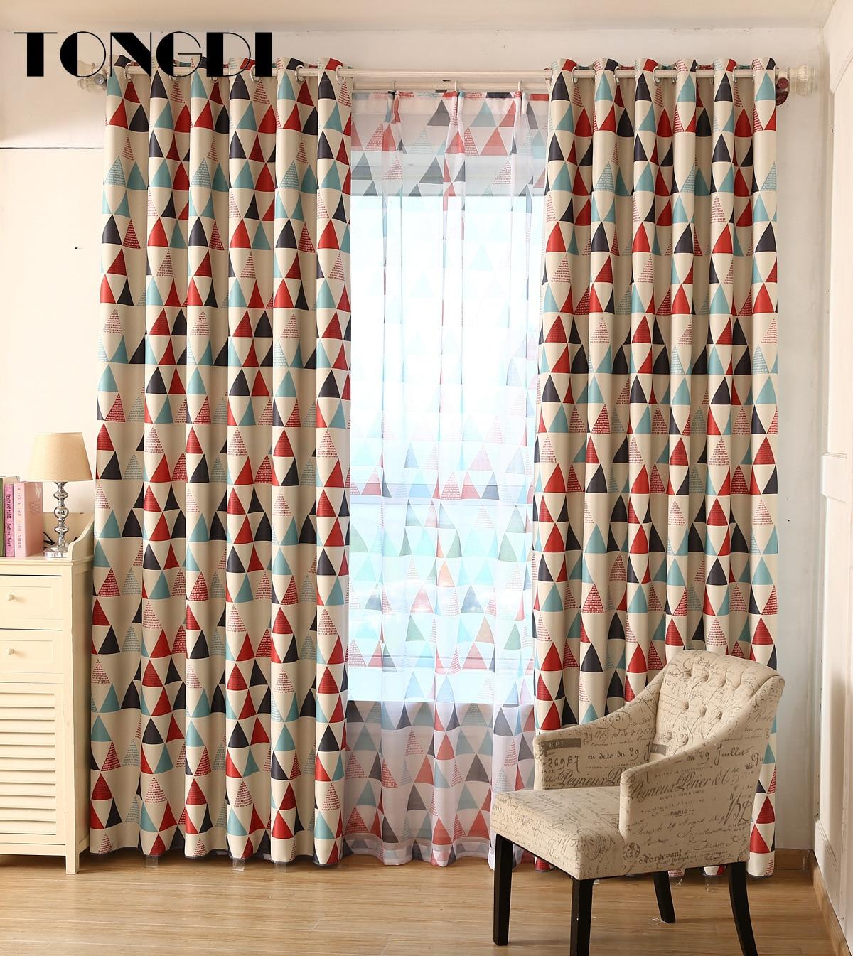 Tongdi crianças cortinas blackout impressão triangular dos desenhos animados para casa quarto sala de estar janela painel cego reduzindo ruído