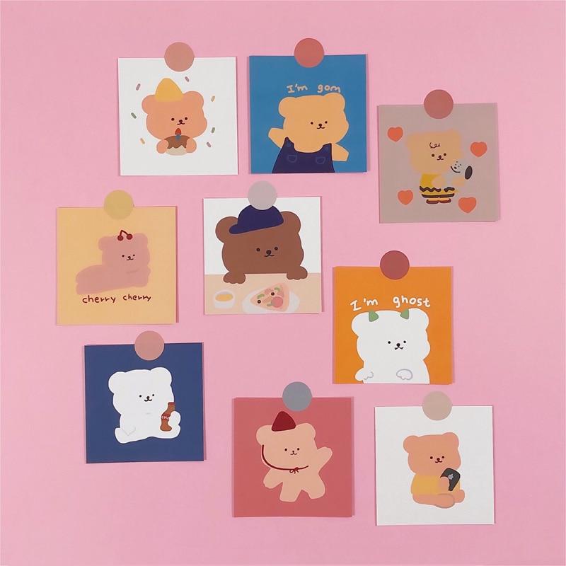 ins-vendita-calda-candy-bear-cards-simpatico-cartone-animato-camera-da-letto-decorazione-murale-ragazza-kawaii-non-appiccicoso-fatto-a-mano-cartolina-regalo-di-cancelleria