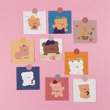 Ins venda quente doces urso cartões bonito dos desenhos animados quarto decoração de parede menina kawaii não-pegajoso feito à mão cartão de papelaria presente