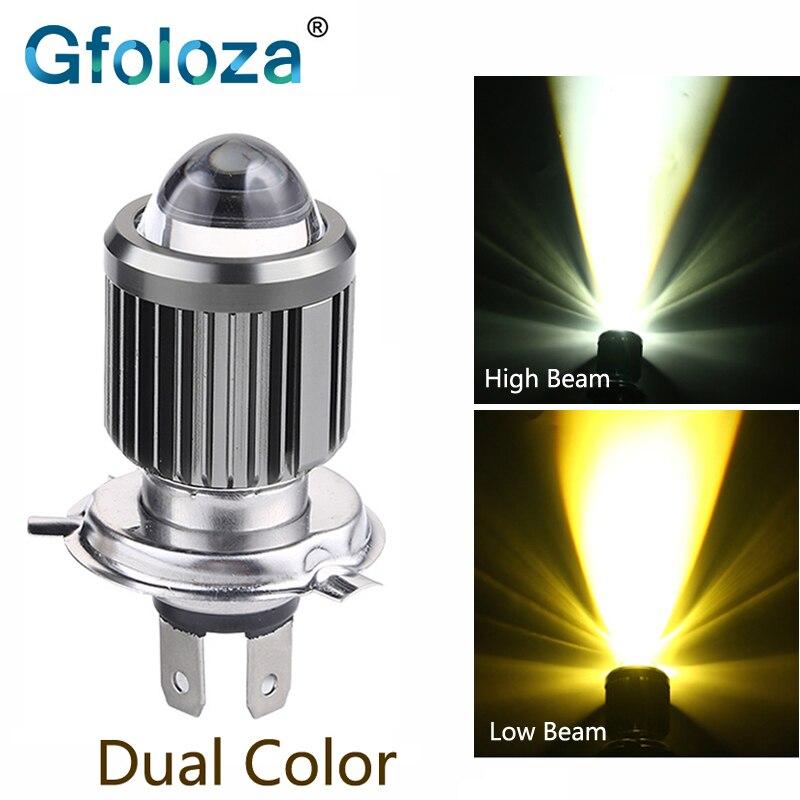 Gfoloza h4 conduziu a lâmpada dupla da cor do farol hs1 da motocicleta do diodo emissor de luz para a cabeça moped atv do scooter do motor lâmpada de nevoeiro 2400lm branco + amarelo 8-80v