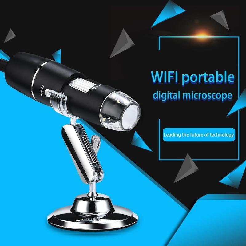 Microscopio Digital con wi-fi, lupa, cámara de inspección, USB, 8 LED con soporte para Android IOS, módulos inalámbricos portátiles y potentes