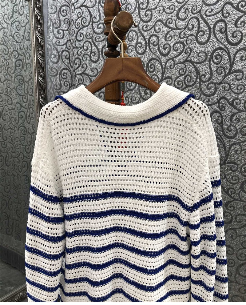 New 2021 Autumn Winter Sweater Pullovers High Quality Women Turn-down Collar Blue White Striped Patterns Knitting Casual Jumpers enlarge
