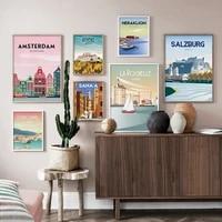 amsterdam wall art canvas poster pink travel print decor france la rochelle decorative picture painting canada vintage decor