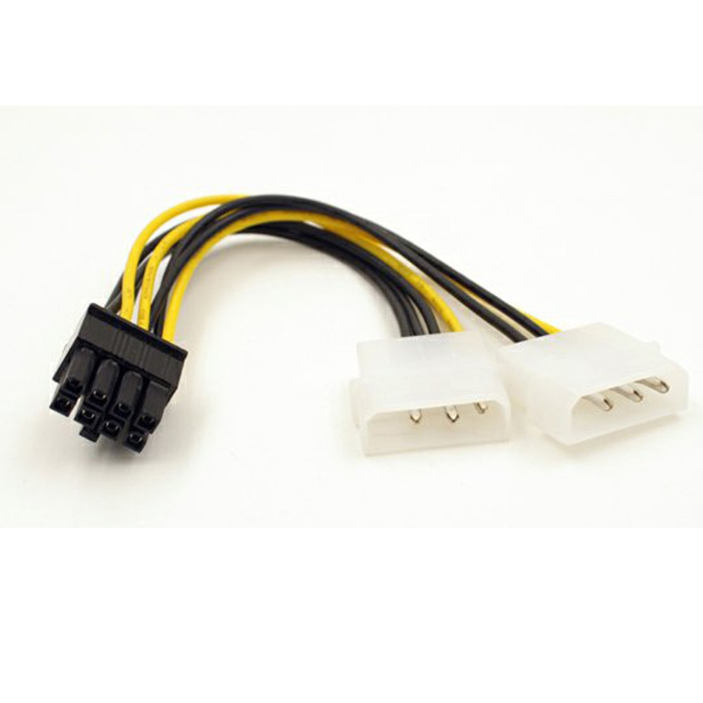 6 pin to 4 pin power cable wire pci e adapter graphics video card converter molex connetor Dual Molex LP4 4 Pin to 8 Pin PCI-E Express Converter Adapter Power Cable Wire For Used On Many AMD And NVidia Video Car New