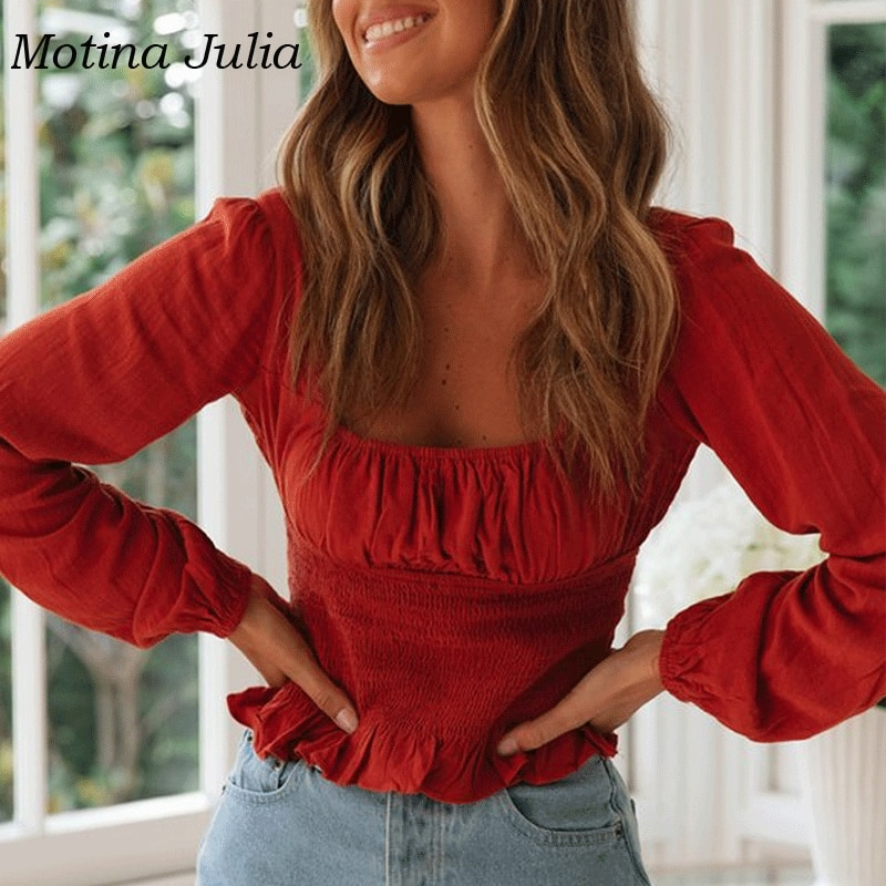 Blusa de manga larga con cuello cuadrado para mujer, blusas de otoño 2019, blusas de algodón para mujer, blusas casuales para mujer