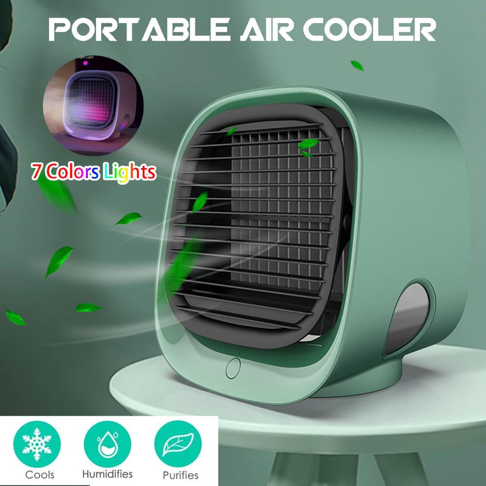 مكيف هواء صغير تبريد مبرد الهواء المحمول مروحة المرطب لتنقية للمنزل غرفة مكتب 3 سرعات تبريد الهواء هادئة