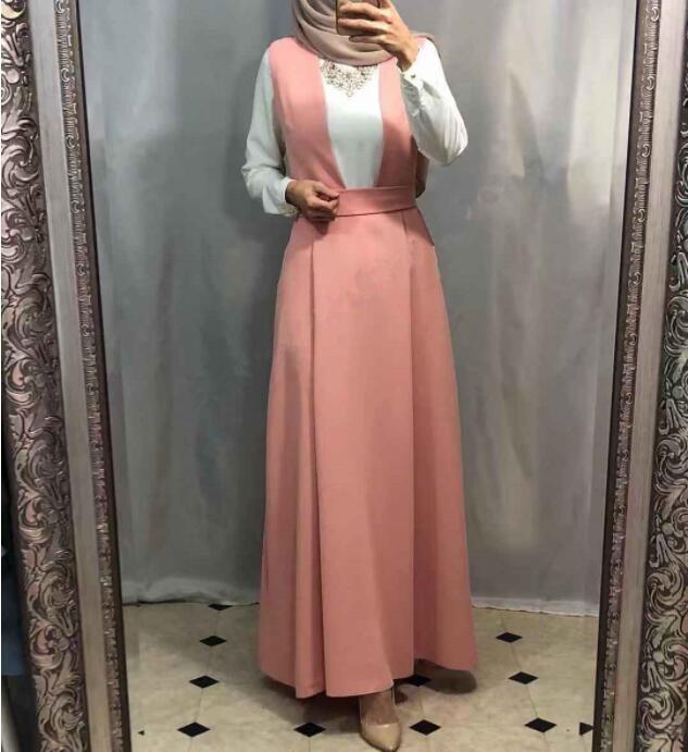 Vestidos de moda Arabes elegante otoño Abaya musulmán caftán Dubai Islam caftán vestido de tirantes mujeres Ramadán Elbise Sukienki vestido de Eid