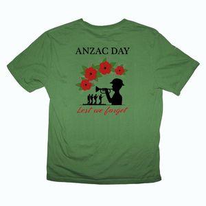 ANZAC Day Bugle Ode Lest We Forget Australia Army Men T Shirt Print on Back Sizes S-XXXL