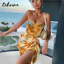 Tie Dye Ruched kobiety Midi sukienka pasek sukienka bandażowa typu Bodycon szczelina Sexy Party elegancka 2020 letnia Sundress odzież Streetwear Sundress