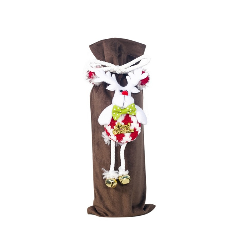 Cute 3D Doll Treat Bags Wine Bottle Covers Christmas Holiday Dining Table Party Home Decoration Supp