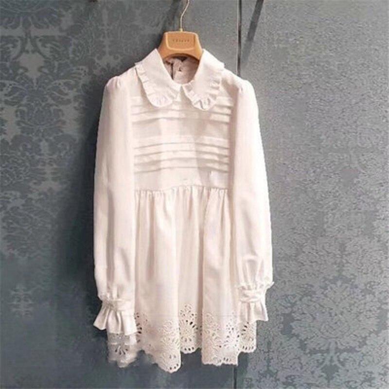 2019 verano marca moda blanco dulce Flare manga larga Mini vestido ahuecado Peter Pan Collar Chic cintura alta fiesta vestidos